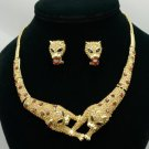 Brother Panther Leopard Necklace Earring Set W/ Brown Rhinestone Crystals