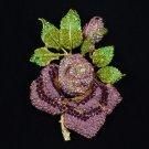 """Rhinestone Crystals Big Purple Bud Rose Brooch Pin 5.5"""" W/ Green Leaf"""