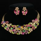 Vogue Enamel Flower Butterfly Necklace Earring Set W/ Swarovski Crystals