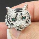 Cute Silver Tone Tiger Ring 7# New w Swarovski Crystals