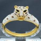 High Quality Animal Panther Leopard Bracelet Bangle w/ Clear Swarovski Crystals