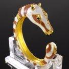 New Hot Fashion Brown Horse Zebra Bracelet Brangle Cuff W/ Swarovski Crystals