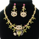 Swarovski Crystals Gold Tone Gorgeous Bamboo Animal Panda Necklace Earring Set