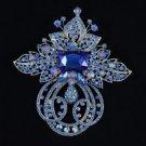 "Retro Fashion Sapphire Flower Brooch Pin 4.5"" W/ Swarovski Crystal Jewelry"
