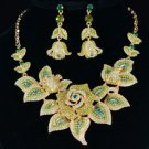 Pretty Green Rose Flower Necklace Earring Set w/ Swarovski Crystals