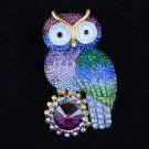 Pretty High Quality Blue Owl Brooch Pin W/ Swarovski Crystals