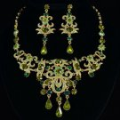 High Quality Posh Flower Necklace Earring Set w/ Green Swarovski Crystals