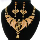 Grisly Belial Chocolate Skull Wings Necklace Earring Set W/ Swarovski Crystals