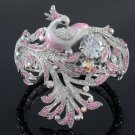 H-Quality Elegant Peacock Bracelet Bangle Cuff w/ Pink Swarovski Crystals