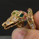Swarovski Crystals Animal Multicolor Crocodile Ring USA 6#,7#,8# Special Offer