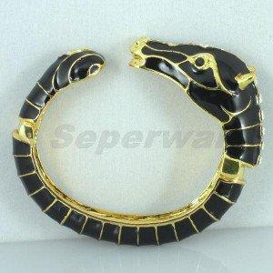 Enamel Black Horse Bracelet Bangle Cuff W/ Rhinestone Crystals