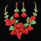 Crystals Rose Necklace Earring Set Red Rhinestone Crystals