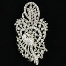 "Wedding Bridal Clear Flower Pendant Brooch Pin 3.3"" W/ Rhinestone Crystals"