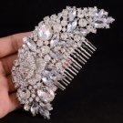 Retro Flower Hair Comb Pieces Bridal W/ Clear Rhinestone Crystals For Wedding