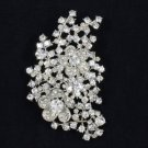 "Trendy Flower Pendant Brooch Broach Pin 3.1"" Clear Swarovski Crystals"