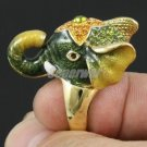 Gold Tone High Quality Cute Green Elephant Ring Size 6# W/ Swarovski Crystals