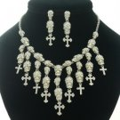 Lots Skull Cross Necklace Earring Set W/ Clear Swarovski Crystal