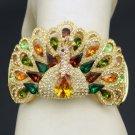 High Quality Peafowl Peacock Bracelet Bangle Cuff W/ Swarovski Crystals