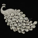 Rhinestone Crystals Clear Animal Peacock Brooch Broach Pin 4.5""