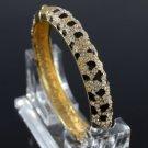 High Quality Gold Tone Leopard Grain Bracelet Bangle W/ Clear Swarovski Crystals