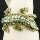 Green A/B Crocodilian Crocodile Bracelet Bangle Cuff W/ Swarovski Crystals