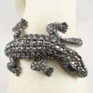 Black Crocodilian Crocodile Bracelet Bangle Cuff W/ Swarovski Crystals