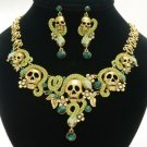 High Quality Swarovski Crystals Snake Skull Necklace Earring Set 4 Colors