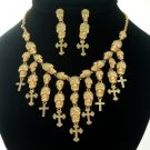 Lots Skull Cross Necklace Earring Set W/  Light Colorado Topaz Crystal