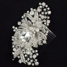 Rhinestone Crystals Retro Tiara Fashion Bridal Flower Hair Comb Pieces Wedding