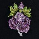 "Pretty Swarovski Crystals Purple Rose Flower Brooch Pin 2.6"""