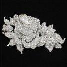 """Swarovski Crystals Clear Flower Brooch Scarf Pin 3.9"""""""