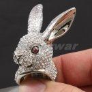Swarovski Crystals High Quality Pretty Animal Clear Bunny Rabbit Ring 6#