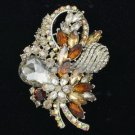"Popular Brown Flower Brooch Pin 3.5"" w/  Rhinestone Crystals"