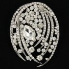 "Wedding Bridal Clear Flower Pendant Brooch Pin 2.8"" W/ Rhinestone Crystals"