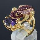 Swarovski Crystals Purple Zircon Froggy Frog Ring USA:6#, UK: L 1/2