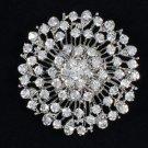 "New Round Flower Brooch Pin 2.0"" W/ Clear Rhinestone Crystals For Bridal"