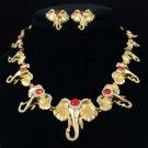 Gold Tone Red Multi Elephant Necklace Earring Set W/ Swarovski Crystals