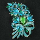 Pretty Green Flower Brooch Pin W/ Rhinestone Crysta
