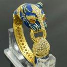 Blue Enamelled Panther Leopard Bracelet Bangle Cuff  Swarovski Crystals