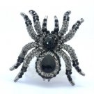 Fearsome Rhinestone Crystals Black Cool Spider Ring Adjustable For Halloween