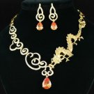 New Pretty Animal Brown Dragon Necklace Earring Set W/ Swarovski Crystsls