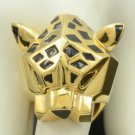 Gold Tone Stunning Cool Animal Leopard Panther Cocktail Ring w/ Crystals Eyes