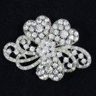 "Clear Leaf Flower Brooch Broach Pin 2.7"" Swarovski Crystals Pendent For Wedding"