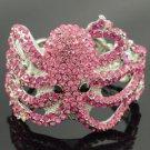 Rhinestone Crystals Animal Pink Octopus Bracelet Bangle Cuff Jewelry