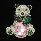 "Rhinestone Crystals Silver Tone Animal Bamboo Panda Brooch Broach Pin 2.3"""