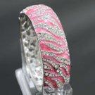 Silver Tone Pink Tiger Texture Bracelet Bangle Cuff w/ Clear Rhinestone Crystals