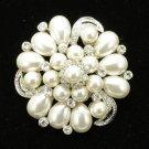 Rhinestone Crystals Clear Round Imitation Pearl Flower Brooch Pin For Wedding