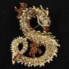 "Cute Animal Smoked Topaz Dragon Brooch Pin 2.4"" w/ Rhinestone Crystals"