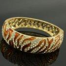 Swarovski Crystal Vogue Brown Tiger Texture Bracelet Bangle