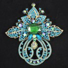 "Green Flower Brooch Pin 4.5"" W/ Rhinestone Crystals"